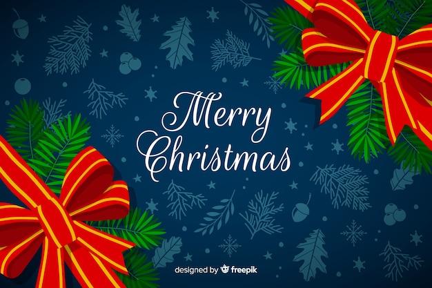 手描きの花輪フレームとクリスマスの背景