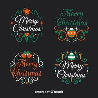黒の背景に手描きクリスマスラベルとバッジコレクション