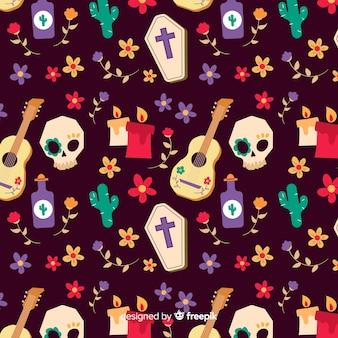 頭蓋骨とギターのシームレスパターンの手でデザインを描画