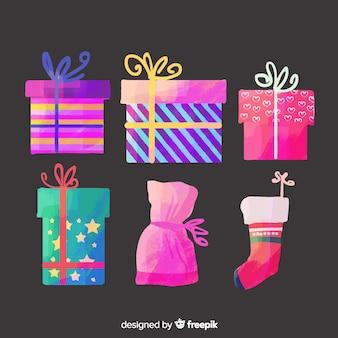 Акварельная коллекция рождественских подарков