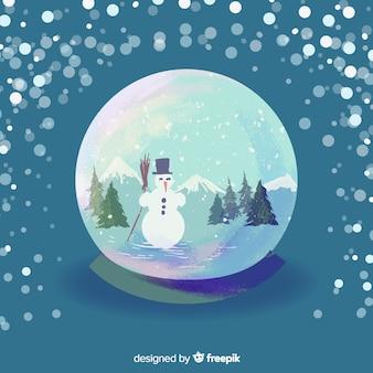 Акварель рождество снежный шар
