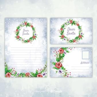 図面と水彩クリスマス文房具テンプレート