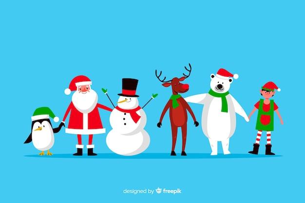 Коллекция плоских рождественских персонажей на синем фоне