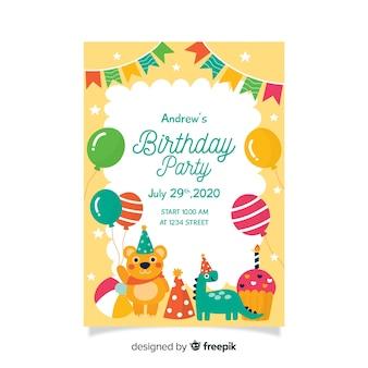 幼稚な誕生日の招待状のテンプレート