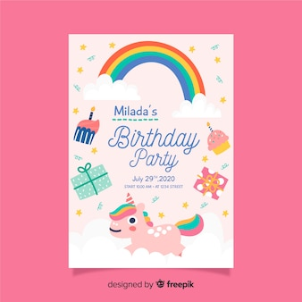 虹と子供の誕生日の招待状のテンプレート