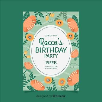 花と誕生日の招待状のテンプレート
