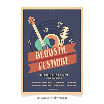 Шаблон плаката ретро акустического фестиваля