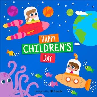 子供の日のフラットなデザインとカラフルなイラスト