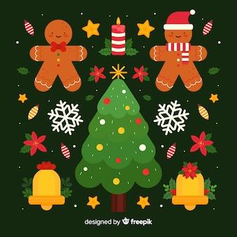 フラットなデザインのクリスマスデコレーション