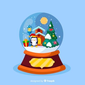 Рождественский снежный шар в плоском дизайне