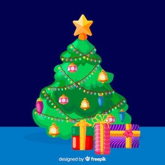 フラットなデザインのカラフルなクリスマスツリー