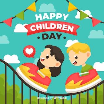 Детский день иллюстрация с плоским дизайном