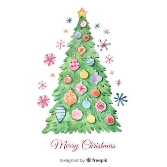 カラフルな水彩クリスマスツリー