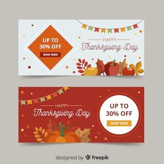 フラットなデザインの感謝祭バナー