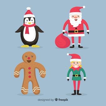 フラットなデザインのクリスマスキャラクターコレクションのセット