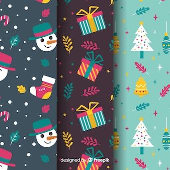 フラットなデザインのクリスマスパターンのセット