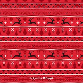 赤いニットクリスマスパターン