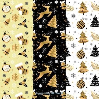 ブラック&ゴールデンクリスマスパターンコレクション