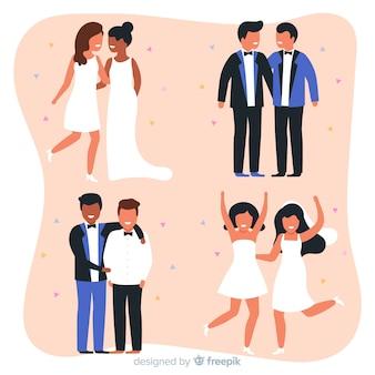 フラットなデザインの結婚式のカップルのコレクション