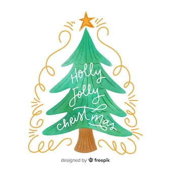 フラットなデザインで水彩のクリスマスツリー