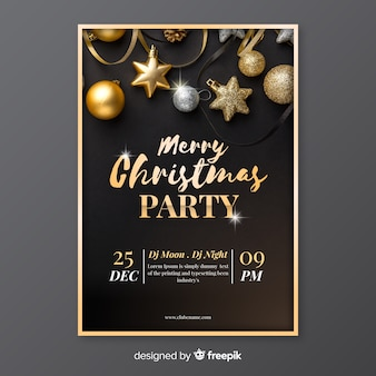 写真のメリークリスマスパーティーポスターテンプレート