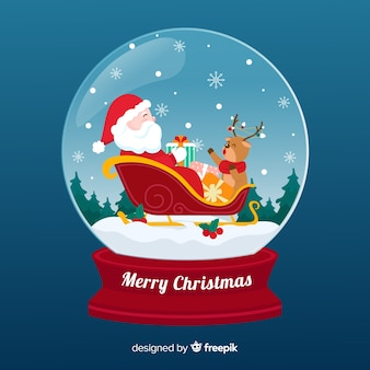 サンタクロースとクリスマス雪玉グローブ