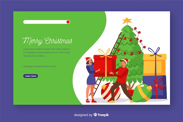 Плоская рождественская целевая страница с елкой