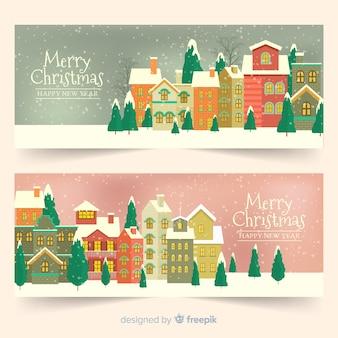 ビンテージクリスマス町バナーセット