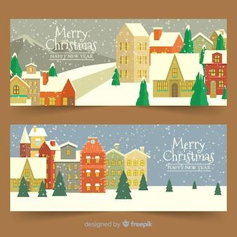 Старинные рождественские городские баннеры
