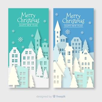 Пакет рождественских городских баннеров в бумажном стиле