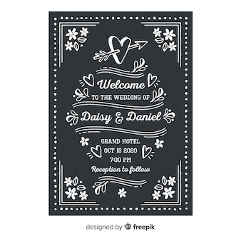 黒板に結婚式招待状テンプレート