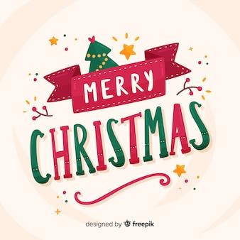 Рождественская надпись с елкой и звездами