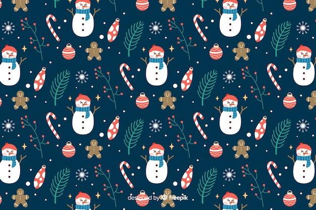 Плоский новогодний фон со снеговиками