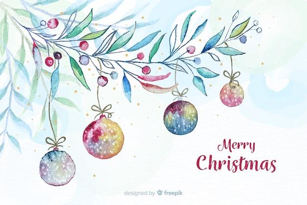 ボールと水彩のクリスマス背景