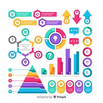 Коллекция плоских элементов дизайна инфографики