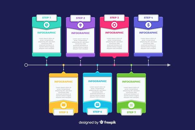 フラットなデザインインフォグラフィックの手順テンプレート