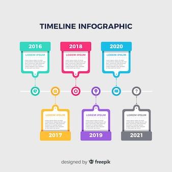 フラットなデザインのカラフルなタイムラインインフォグラフィック