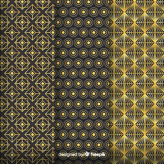 幾何学的な黄金の高級パターンセット