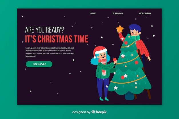 Плоская рождественская целевая страница