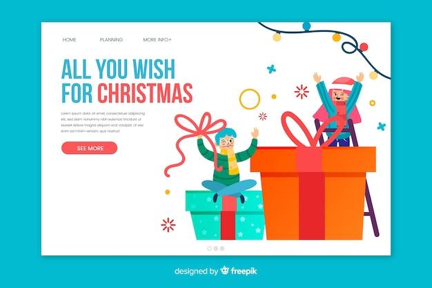 Плоский рождественский шаблон целевой страницы