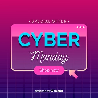 Плоский кибер понедельник на фоне ретро футуристический