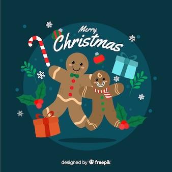 ジンジャーブレッド人とフラットなクリスマス背景