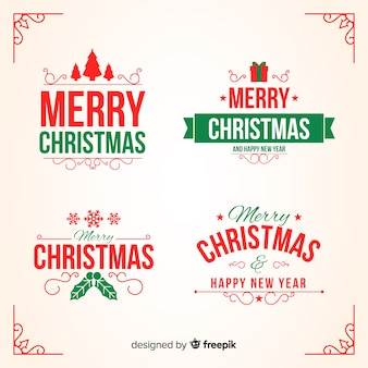 Плоская рождественская коллекция значков