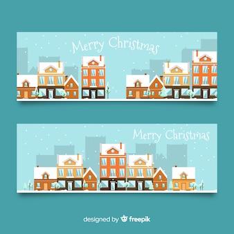 フラットなクリスマスタウンのバナー