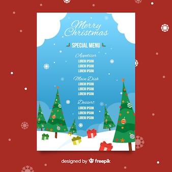 Плоский рождественский шаблон меню