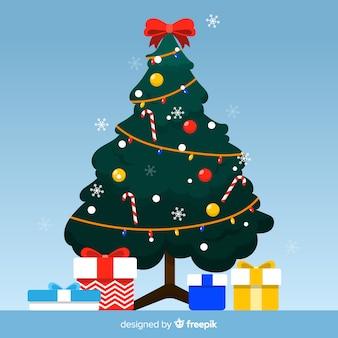 プレゼントとフラットなクリスマスツリー