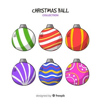 Коллекция рисованной новогодние шары