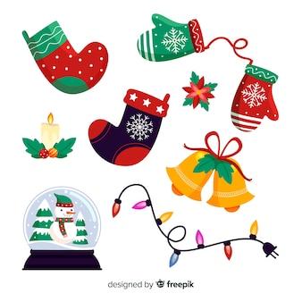 手描きのクリスマス要素のコレクション