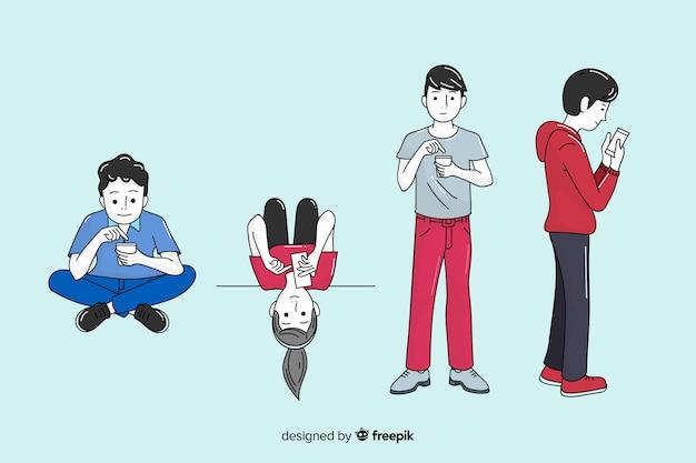 Молодые люди держат смартфоны в корейском стиле рисования