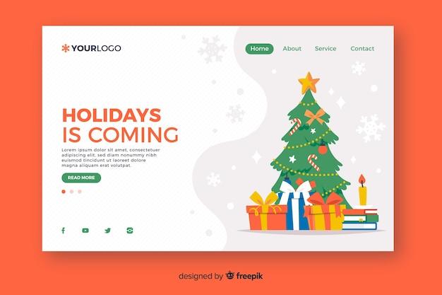 Рождественская целевая страница в плоском дизайне